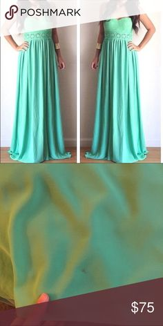 FLASH SALE‼️ Mint Strapless Formal Prom Gown Dress Absolutely perfect for prom or for a formal event. There is one minor stain on the back of the dress. It's on the bottom so no one can even see. This dress was only worn once, during my prom so it's in really good condition! No trades. Price is firm. Dresses Strapless