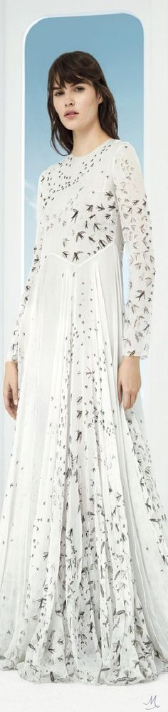 Valentino Swallow Print Silk Gown Silk Gown, Swallow, Designer Clothing, Valentino, Runway, Dresses With Sleeves, Gowns, Long Sleeve, Fashion Design