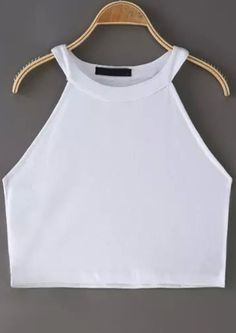 White Halter Crop Cami Top -SheIn(Sheinside)