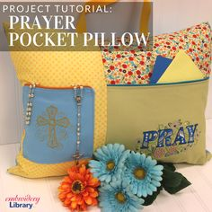 Keep the faith with a prayer pillow complete with pockets for a rosary and written devotions from Embroidery Library.
