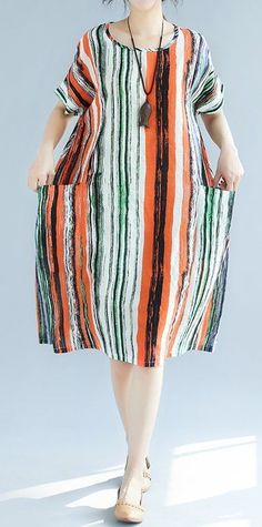 Women loose fit plus over size pocket dress stripes tunic summer casual fashion #unbranded #dress