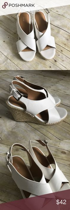 """Apt. 9 White Wedge Sandals. New, will come without box. Size 7.5. 4"""" heel. Man made materials. Original price $54.99. ❌ No trades or off Poshmark transactions.   Quick shipping.   Offers welcome through """"Make an Offer"""" feature.    Bundle discount.   ❔ Feel free to ask any questions. Apt. 9 Shoes Sandals"""