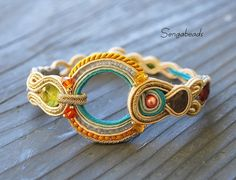 Fine soutache bracelet in old gold and turqoise, soutache jewelry, gift for her, birthday gift, gift, bracelet, Chrismas gift for her