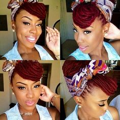 Wraped Red locs ♥ # colour # make- up