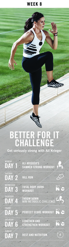 Why intervals for training? Find out in week 8 of the Better For it Challenge with cardio today, a full-body prep tomorrow and energizing runs with Nike+ Training Club.