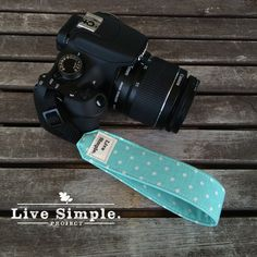 DSLR Wrist Camera Strap Mint Dots  by LiveSimpleProject on Etsy