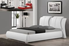 Upholstered Bonded Leather Bed in White at $489 with Free Delivery in the Henderson/Las Vegas area.