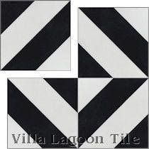 """Diagonal Four A Black and White"" Cement Tile"
