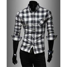 Fashion Style Turn-down Collar Full Plaid Print Long Sleeves Polyester Men's Shirt
