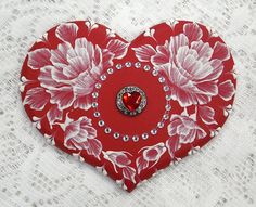 Hand Painted Red MUD Roses Cookie with Rhinestone Bling