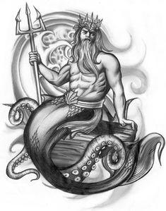 Poseidon Tattoo Design by ~13star on deviantART