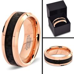 Tungsten Wedding Band Ring 8mm for Men Women Comfort Fit 18K Rose Gold Plated Black Carbon Fiber Beveled Edge Polished Lifetime Guarantee (5)
