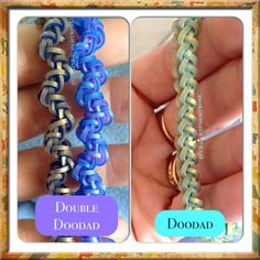 Doodad and Double Doodad bracelet tutorial (hook only) rainbow loom bands by Suzanne H-B Rainbow Loom Tutorials, Rainbow Loom Patterns, Rainbow Loom Creations, Rainbow Loom Bands, Rainbow Loom Charms, Rainbow Loom Bracelets, Loom Love, Fun Loom, Loom Band Bracelets