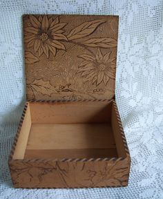 pyrography on inside lid of wooden box