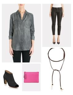 This charcoal button-up looks perfect paired with coated skinnies. Casual cool outfit