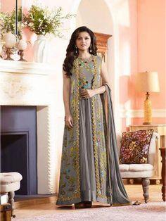 Grey Georgette Embroidery Anarkali Salwar Kameez