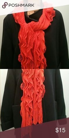 Crocheted Scarf Beautiful orange crocheted ruffle scarf, a perfect pop of color for any ensemble.  Shown here with the Macintosh coat, also found in my closet. Accessories Scarves & Wraps
