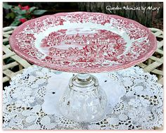 Red and White Toile Cupcake Stand / Candle by GardenWhimsiesByMary, $18.00
