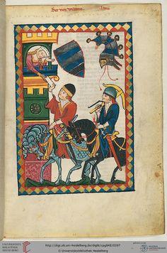 """""""Her Herrand II. von Wildonie, südlich von Graz"""", in """"Heidelberger Liederhandschrift (Codex Manesse)"""", Zürich, ca. 1300-1340 http://www.pinterest.com/stephenjeffrey9/post-medieval/"""