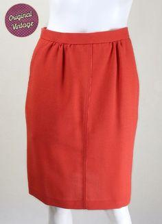 1980s Vintage Red Wool Pencil Skirt  | Vintage Pencil Skirts | Vintage 1980s Skirt | Vintage Pencil Skirt | 1980s Clothing | 1980s Fashion | 1980s Vintage Skirt