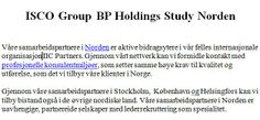 ISCO Group BP Holdings Study Norden