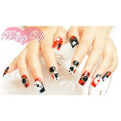 Japanese Nail Art Aces Blackjack Poker Nail Tip with 3D Nail Art and... ($40) ❤ liked on Polyvore