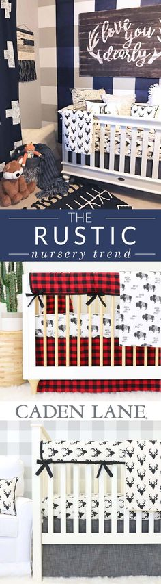 We love the boyish rustic nursery look! It's so adorable with plaids, deer and wood accents.
