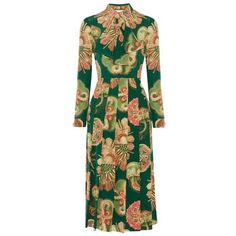 Gucci Pleated printed silk crepe de chine midi dress ❤ liked on Polyvore featuring dresses, midi day dresses, gucci, calf length dresses, green pleated dress and green dress