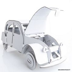 Voiture 2CV en carton blanc à construire Leolandia - Maquette en Carton de l'Atelier Chez Soi.