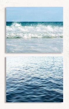 Soft Blue Beach Set of Two - Rustic Coastal Wall Art for your Beach House Decor