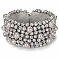Freshwater Grey Pearl Elastic Bangle Bracelet (5.5-8mm) Amour. $87.00
