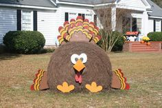 Unique (one of a kind) Thanksgiving Fall Harvest Round Hay Bale Decoration. Turkey:) Created by Denise Cline Thanksgiving Crafts, Thanksgiving Decorations, Fall Crafts, Halloween Decorations, Fall Decorations, Happy Thanksgiving, Holiday Decor, Hay Bale Decorations, Outdoor Decorations