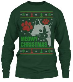 Meowy - Ugly Christmas Sweater-style Printed Tee! | Teespring