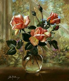 art-and-dream: Art painting wonderful style by Albert Williams Beautiful Paintings Of Flowers, Beautiful Flowers, Flower Paintings, Painting Flowers, Art Floral, Rose In A Glass, Still Life Flowers, Still Life Oil Painting, Still Life Art
