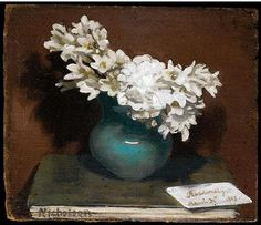 ❀ Blooming Brushwork ❀ garden and still life flower paintings - Nicholson, William (1872-1949) - 1917 Still Life with White Freesias