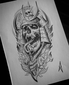Japan Tattoo Design, Tattoo Design Drawings, Skull Tattoo Design, Tattoo Sketches, Rune Tattoo, 4 Tattoo, Tattoo Spirit, Chest Tattoo, Japanese Tattoo Art