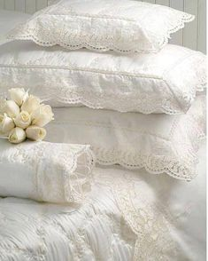 Pillows:  White lace #shams and #bedding.