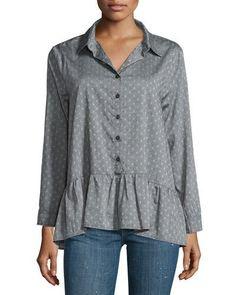 The Drop Ruffle Polka-Dot Oxford Shirt