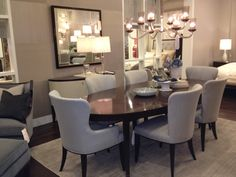 Beautiful New Dining Room Set Done In Smokey Blues Grays And Amethyst Barbara Barry