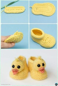 Crochet Duckling Baby Booties Free Pattern- Ankle High Baby Free Patterns Crochet Ankle High Baby Booties Free Patterns with Instructions: Keep baby feet in style and warmth with these baby booties/boots, holiday gift ideas. Booties Crochet, Crochet Baby Shoes, Crochet Baby Clothes, Crochet Slippers, Crochet Hats, Crochet Baby Blanket Beginner, Baby Knitting, Crochet For Kids, Free Crochet