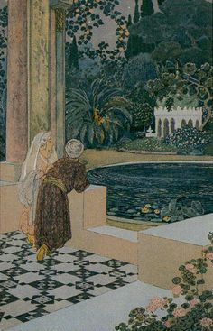 """The concept of this deck sounds wonderful – a tarot based on the stories that comprise the """"Arabian Nights."""" Surely Scheherazade touched on every one of the tarot meanings as she … Fantasy Kunst, Fantasy Art, Art Et Architecture, Fairytale Art, Arabian Nights, Art And Illustration, Tarot Decks, Conte, Pretty Art"""