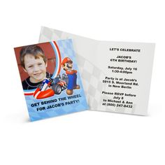 Mario Kart Wii Personalized Invitations from BirthdayExpress.com