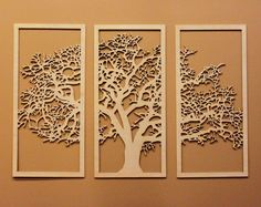 Decorate your walls with this large, beautiful three-panel cutout of a deciduous tree. The Tree of Life spans over 4 wide and 32 tall. Its made out of 1/4 beautiful maple or birch wood and comes in a glossy finish. Each panel is precisely cut out and is ready to hang on your wall. Its a sure fire way to add a beautiful accent to a wall or room. Dimensions Each panel measures 15 W x 32 H. Total size is approximately 48 W x 32 H  Hanging this item on the wall is easiest with a few trim nails…