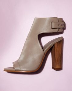 Vince Addie Open-Toe Buckle-Back Bootie in Taupe