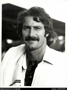 """Dennis Lillee, AM, MBE Born: July 1949 is a former Australian cricketer rated as the """"outstanding fast bowler of his generation"""". Lillee was known for his fiery temperament, 'never-say-die' attitude and popularity with the fans. Test Cricket, Cricket Bat, World Cricket, Sports Personality, Record Holder, Photographs Of People, Music Film, Sports Stars, Rugby"""
