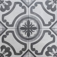 Traditional pattern encaustic look porcelain floor tiles from Solus Ceramics. Nice grey shades, perfect for floors and walls. Palm tree trend.