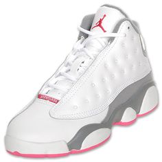 Girls' Preschool Air Jordan Retro 13 Basketball Shoes  White/Spark/Stealth