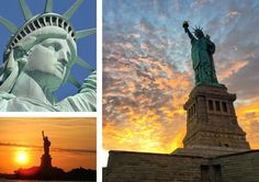 A three photo montage of the Statue of Liberty, a massive metal statue of a woman in a robe holding up a torch and a tablet.