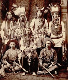 """Col. Wm. F. Cody (Buffalo Bill) and Gordon W. Lillie (Pawnee Bill) and Native American men. 1883."