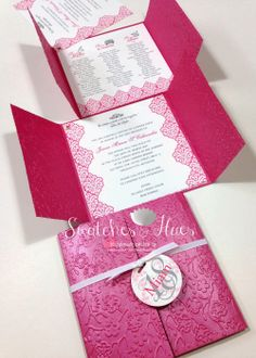 Princess themed gate fold invites with embossed design.
